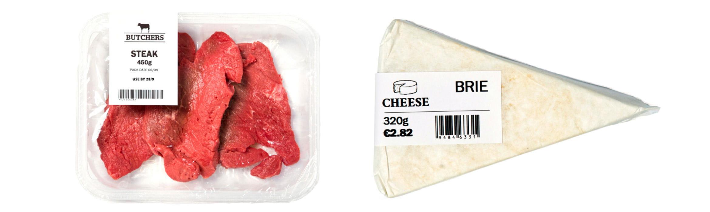 Alimentos embalados com etiqueta de preço