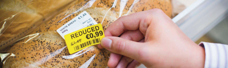 Etiqueta de preço amarela