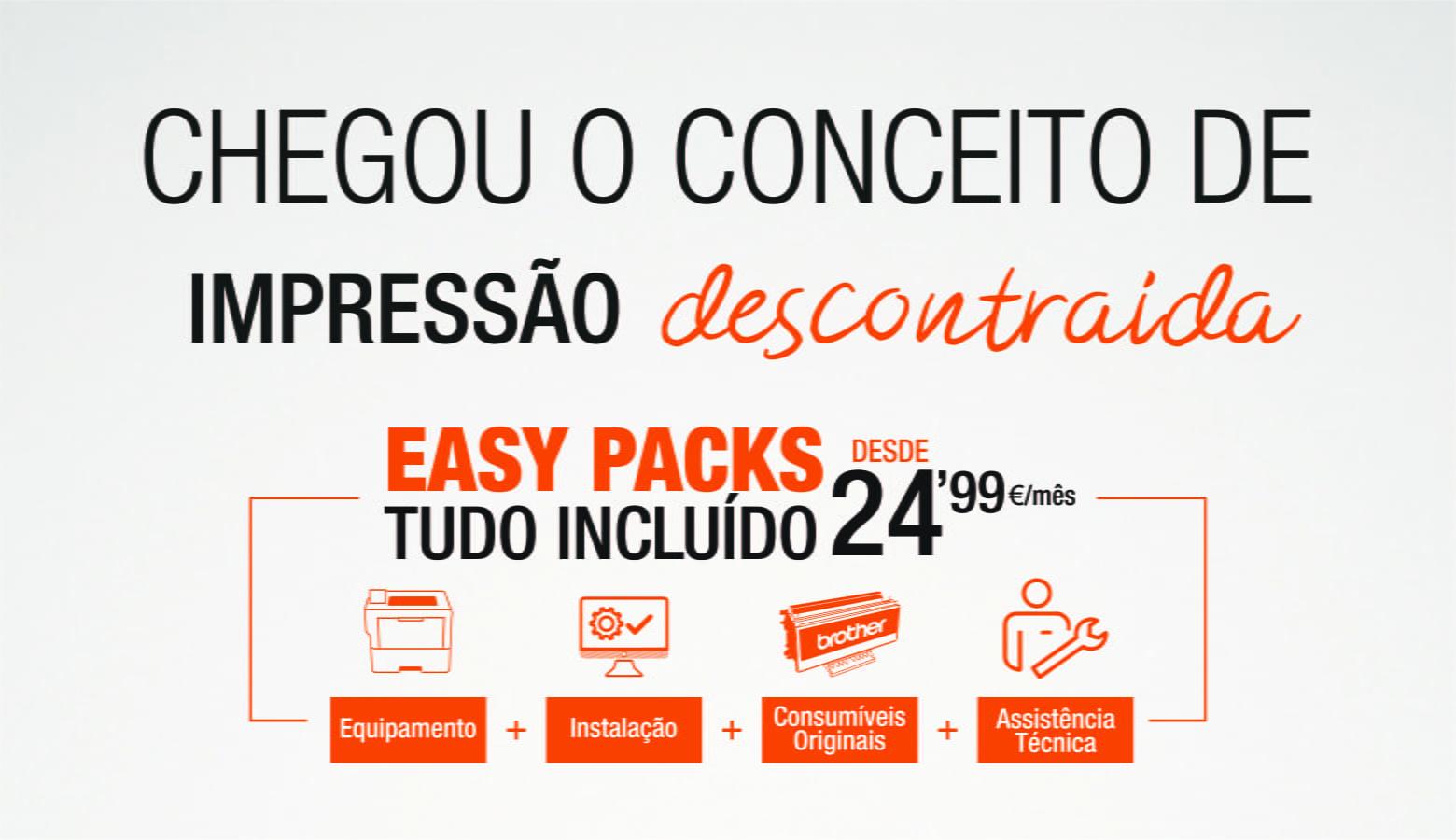 Chega o conceito de impressão descontraida. Easy Packs desde 24,99€