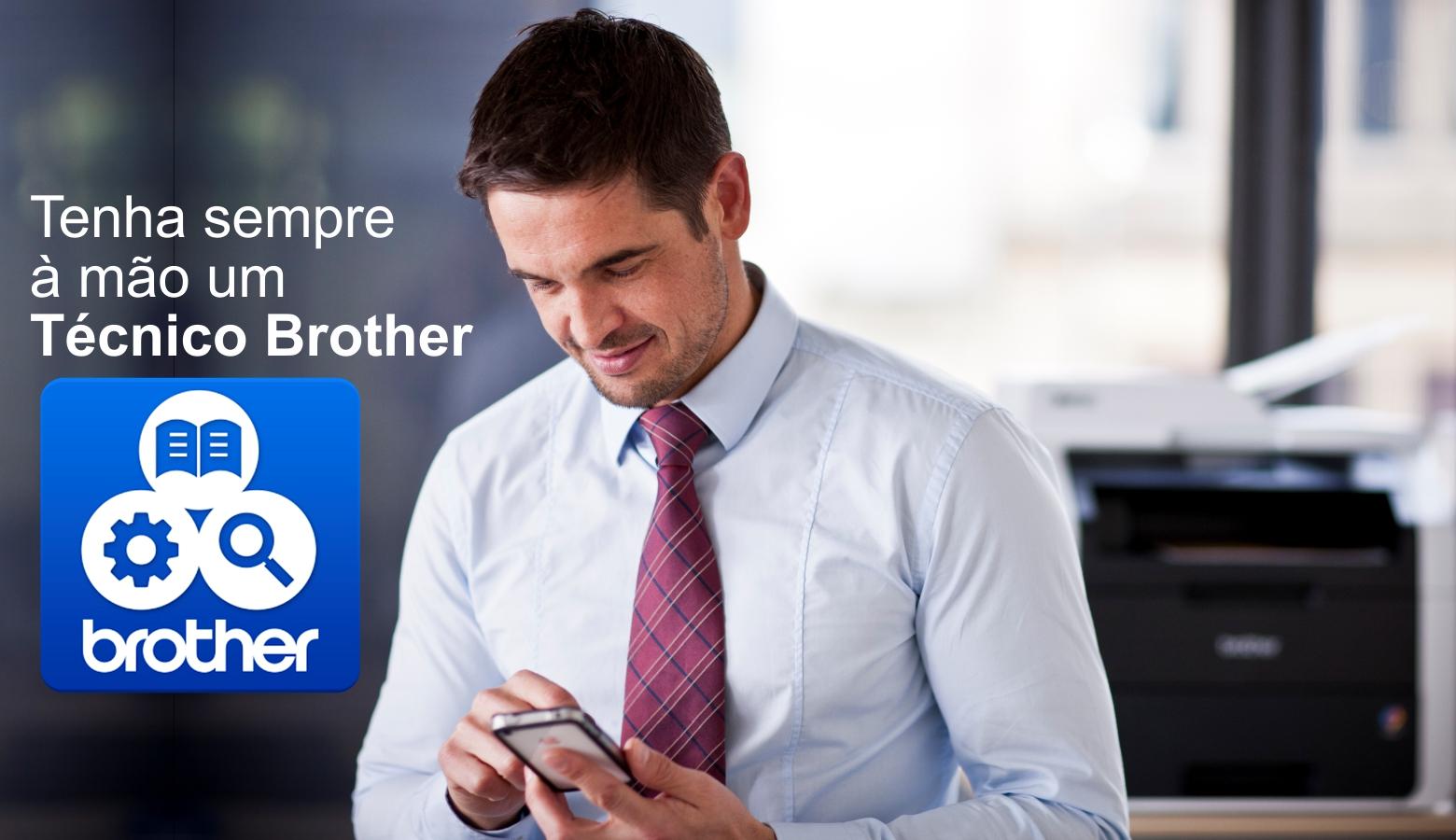 Tenha a mão um Técnico Brother.  Support Center App